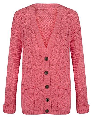 Chunky Pulsante Fashion essentials Maglia Cavo Cardigan Donna Coral new Nonno nqnwUYp74