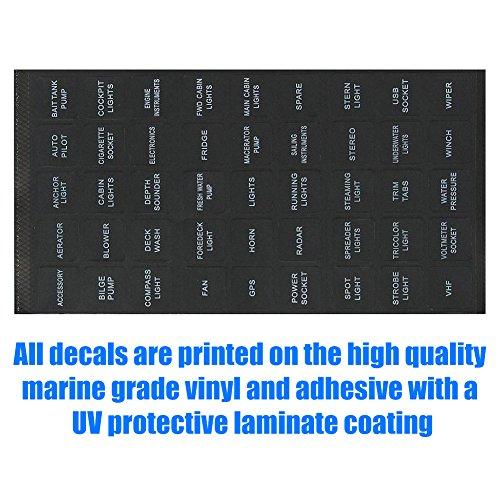 BUNKER INDUST Set of 2 Decal Sticker Label Sheet for Caravan Marine Boat Dash Board Instrument Rocker Switch Circuit Panel GPS Horn Light,Black(45 Pcs Each) by BUNKER INDUST (Image #4)