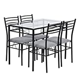 Cheap Warmcentre 5 Piece Table & Chair Set,Dining Kitchen Table and 4 Chairs with Tempered Glass Steel Tube Legs Dining Room Living Room Home Furniture,Black