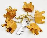 A Set of 5 Hand Carved Wooden Elephant Key Ring,keychain,wood Key Holder Keychain