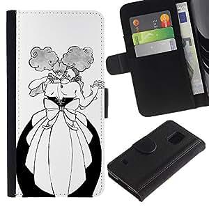 Paccase / Billetera de Cuero Caso del tirón Titular de la tarjeta Carcasa Funda para - Dance Man Woman Funny Alcohol Ball - Samsung Galaxy S5 V SM-G900