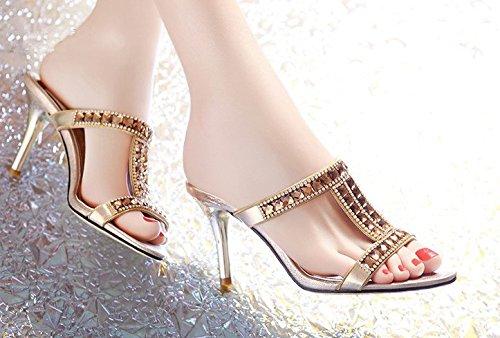 AWXJX Frauen Flip Flops Fein mit mit Fein High Heel Äußeren Verschleiß Golden 78c466
