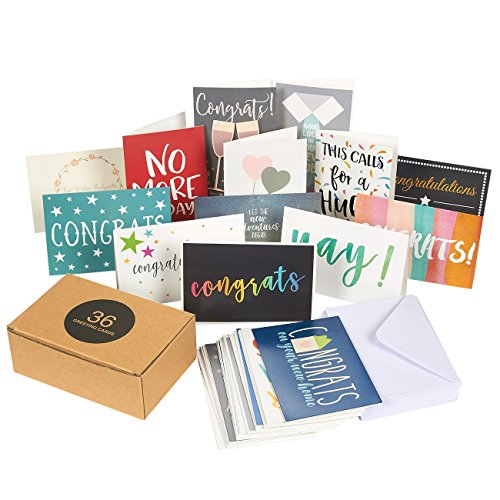 36 Pack Assorted All Occasion Greeting Cards - Includes Assorted Congratulations, Hello, Thank You Cards - Bulk Box Set Variety Pack with Envelopes Included, 4 x 6 (Congratulations Pack)