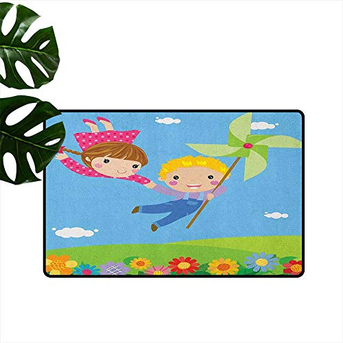 (Anzhutwelve Pinwheel,Machine Washable Carpet Little Boy and Girl Flying Fantasy Fairy Friendship Joyful Childhood Games Cartoon 36