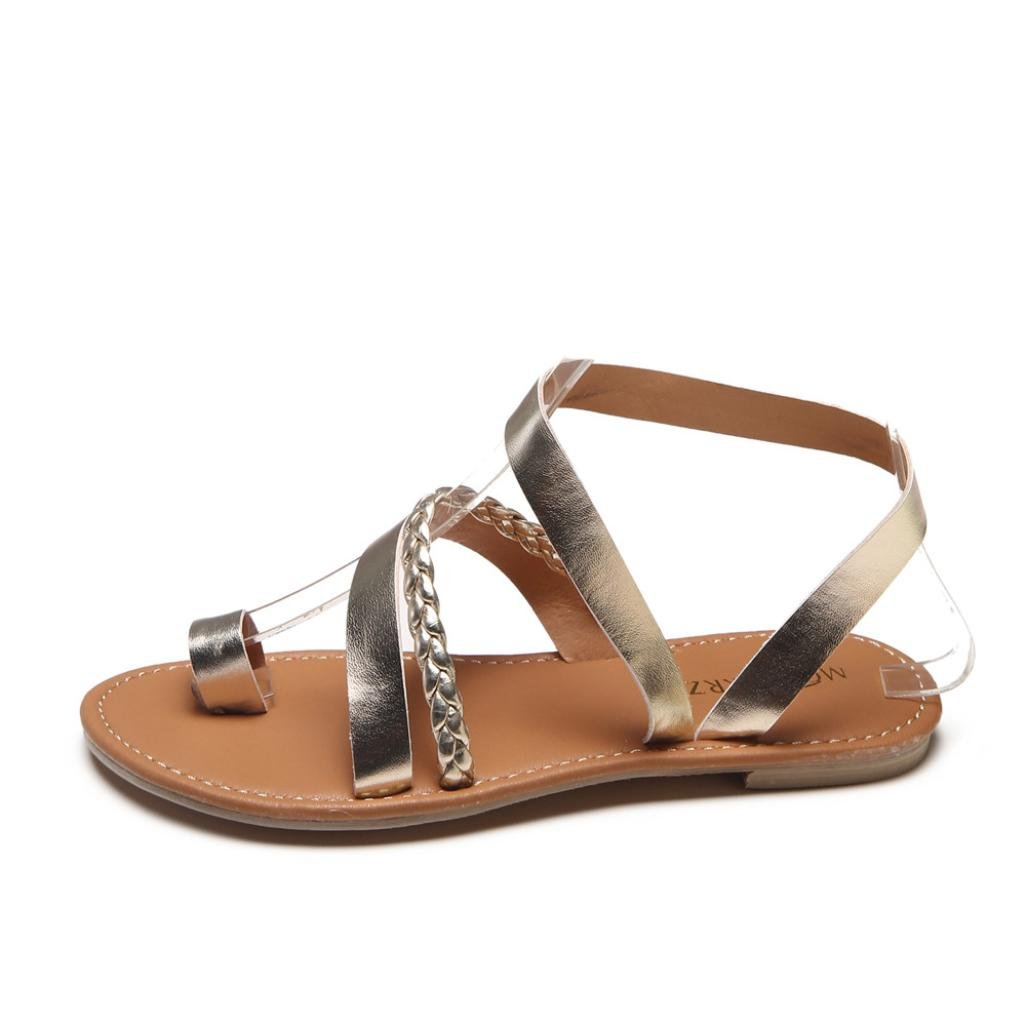 Women Flats Sandals Low Heel Beach Shoes Slippers Strappy Gladiator Flip Flops Sandals (US:8.5, Gold)