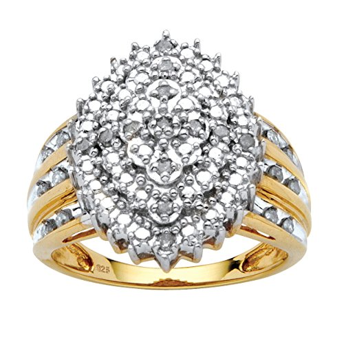 White Diamond 18k Gold over .925 Silver Marquise Cluster Ring (.35 cttw, HI Color, I3 Clarity) Size 6