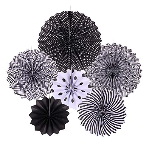Zilue Hanging Black Paper Fans Decoration Set for Wedding Birthday Party Graduation Round Events Accessories Set of ()