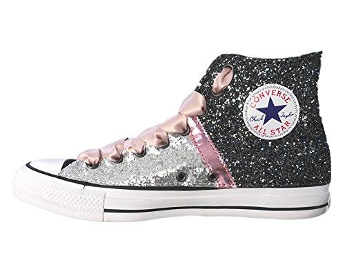 Stefano Natussi ,  Unisex-Erwachsene Hohe Sneaker Silber / Schwarz