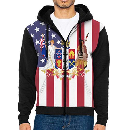 GRUONGBOON New Zealand Coat of Arms Full Zip Sweatshirt Drawstring Hoodies with Pockets ()