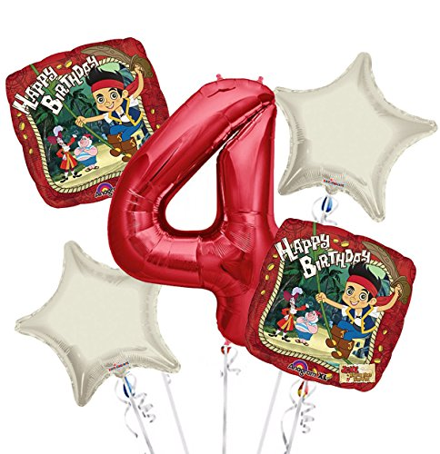 jake and the Neverland Pirates Balloon Bouquet 4th Birthday 5 pcs - Party Supplies ()