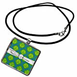 3dRose Dooni Designs Damask Patterns - Lime Olive Green Blue Ornate Damask Pattern Faux Diamond Ribbon - Necklace With Rectangle Pendant (ncl_118982_1)
