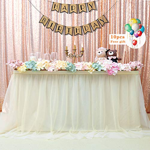 - B-COOL Cake Dessert Table Skirt 6 Yards Ivory Tulle Tableware For Party Wedding Birthday Party Handmade Improved Princess Decoration(L18(ft) H 30in)