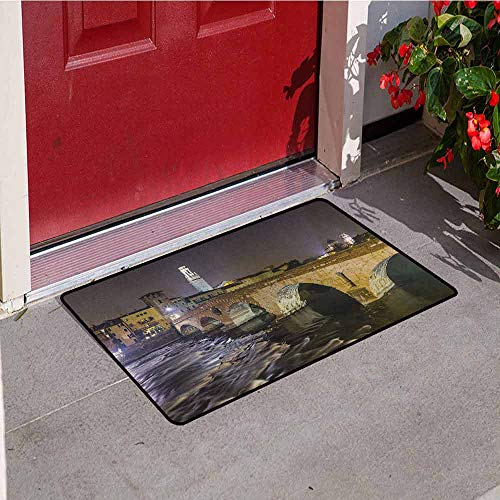 GloriaJohnson Landscape Commercial Grade Entrance mat Ponte Pietra on River Adige Ancient Roman Bridge in The Old Town of Verona Italy for entrances garages patios W23.6 x L35.4 Inch Black Beige ()