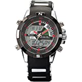SHARK Mens Army Dual Time LCD Alarm Chronograph Sport Wrist Watch Red Dial SH043, Watch Central