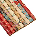 """Kesoto Christmas Kraft Wrapping Paper Bundle, 27 Rolls - 9 Different Patterns - 27.5"""" x 20"""" per Roll"""