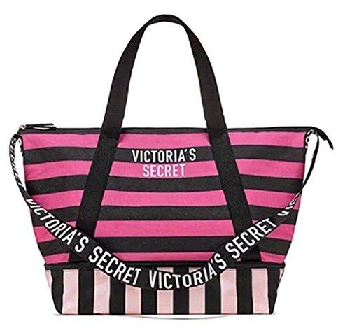 Victoria's Secret Expandable Weekender Tote Bag, Pink and Black Stripe (Pink Bag Secret Victoria Tote)