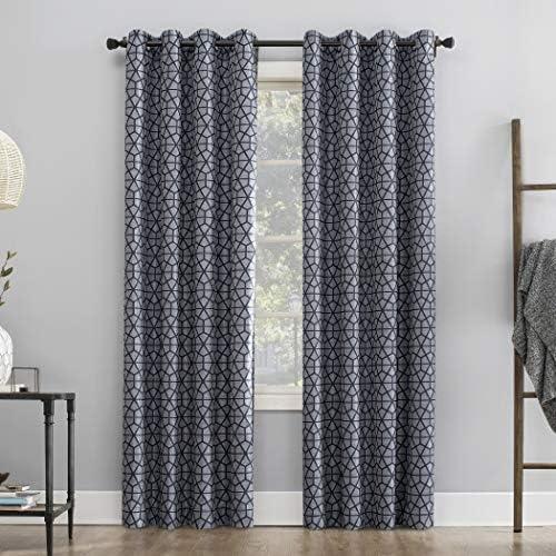 Sun Zero Verve Twill Mosaic Thermal Extreme 100 Blackout Grommet Curtain Panel, 52 x 84 , Navy Blue Denim