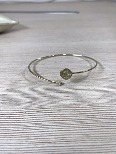 Gold Bangle Diamond Yellow (Handmade yellow gold flexible bangle with artisan diamond setting)
