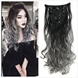 DYBST Natural Black to Dark Grey 2-tone Ombre Color Natural Wavy/Silky Straight Clip in Hair Extensions 7Pieces 24' for a Full Head ... (Wavy)