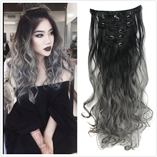 DYBST Natural Black to Dark Grey 2-tone Ombre Color Wavy Clip in Hair Extensions 7Pieces 24