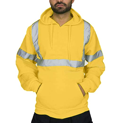178bcb1e Hunzed Men【High Visibility Hoodie Pullover 】 Mens Road Work Safety Long  Sleeve Sweatshirt Tops Blouse at Amazon Men's Clothing store: