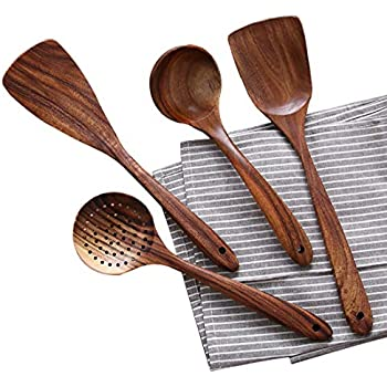 Amazon Com Healthy Cooking Utensils Set 6 Wooden Spoons