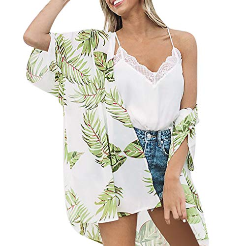 (FORUU Cardigans for Womens, Ladies Floral Printed Loose Short Half Sleeve Chiffon Kimono Tops Blouses Summer Holiday Girlfriend Lover Wife Party Beach Prom Cocktail Evening)