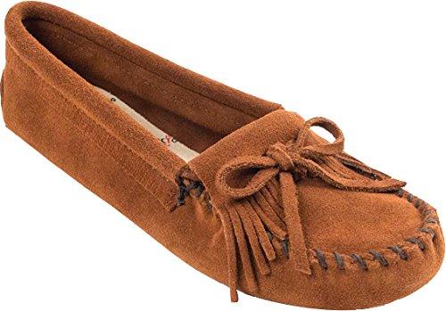 Minnetonka Women's Kilty Suede Softsole Mocassins,Brown,4 M