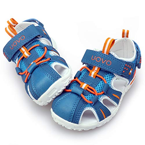 UOVO Boys Sandals Hiking Athletic Closed-Toe Beach Sandals Kids Summer Shoes (3 M US Little Kid, Light Blue-3)