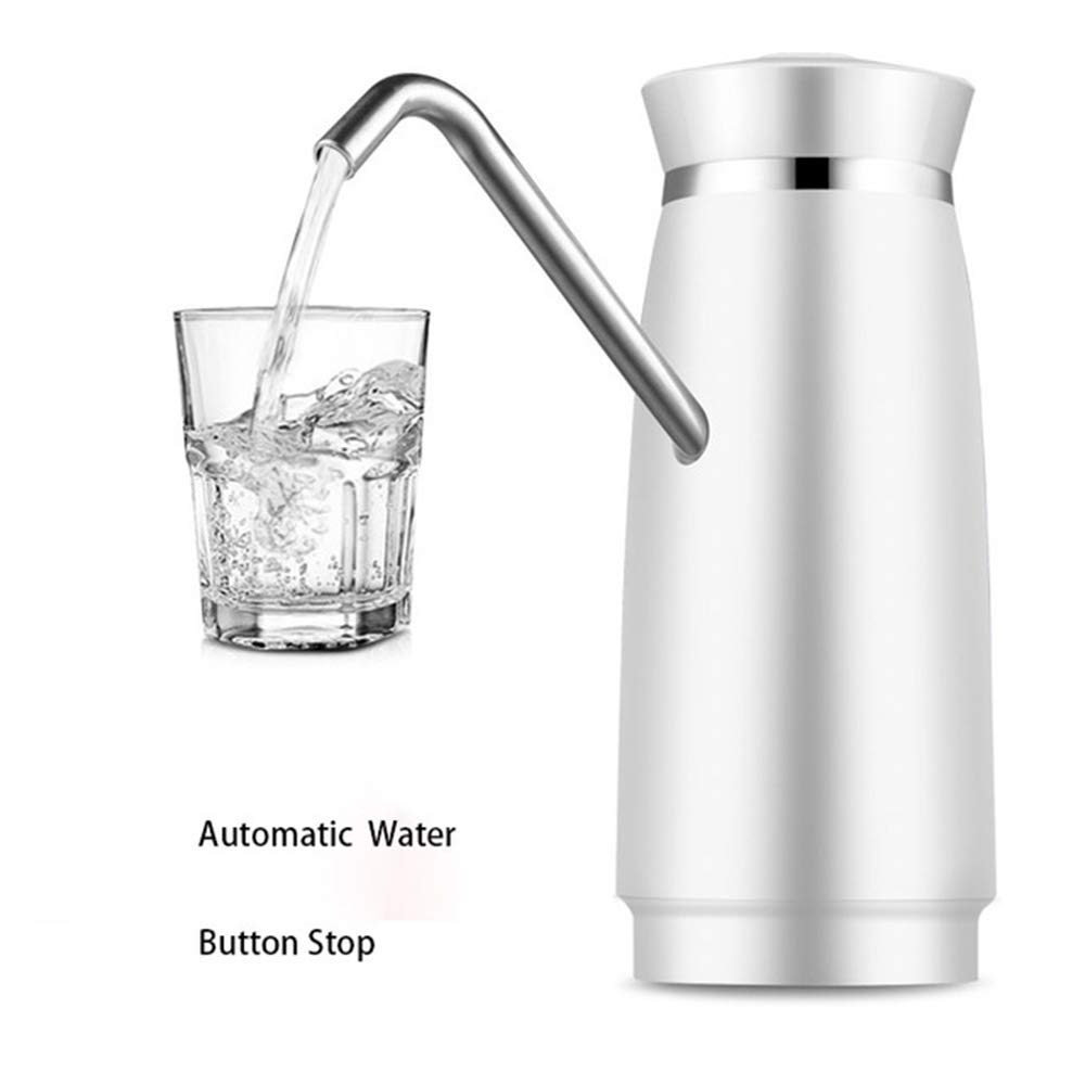 Automatic Electric Portable Water Pump Dispenser Rechargable Energy Cold Drink Dispenser Drinking Bottle Switch Stainless Steel,White by Sophia