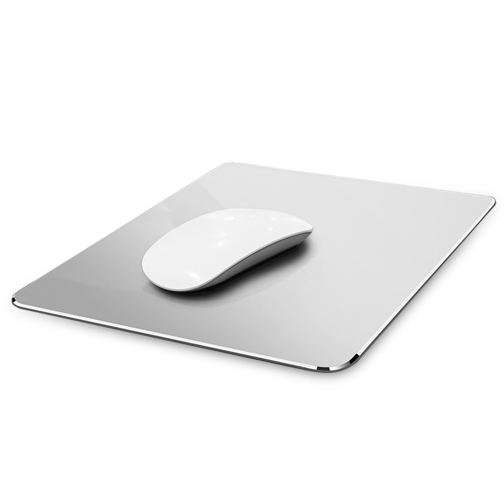 Hard Metal Silver Aluminum Mouse Pad Mat Ultra Thin Big XL Double Side Design Mouse Mat Waterproof Fast and Accurate Control for Gaming and Office(Large 11.81X9.45 Inch)