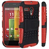 Excellent Accessories® Motorola Moto G - Premium Quality Shockproof Defender Plastic Hard Back Case Cover + Free Clear Screen Protector + Polishing Cloth + Touch Screen Stylus Pen
