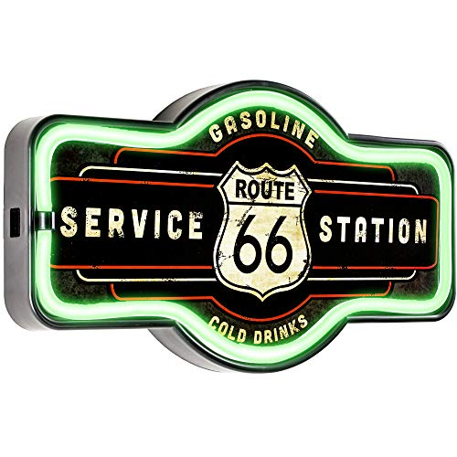 """Crystal Art Licensed Route 66 Service Station Neon Like LED Rope Light Sign Wall Decor for Bar, Garage, or Man Cave, 9.5"""" H x 17"""" L x 1.5"""" D, Multicolored"""
