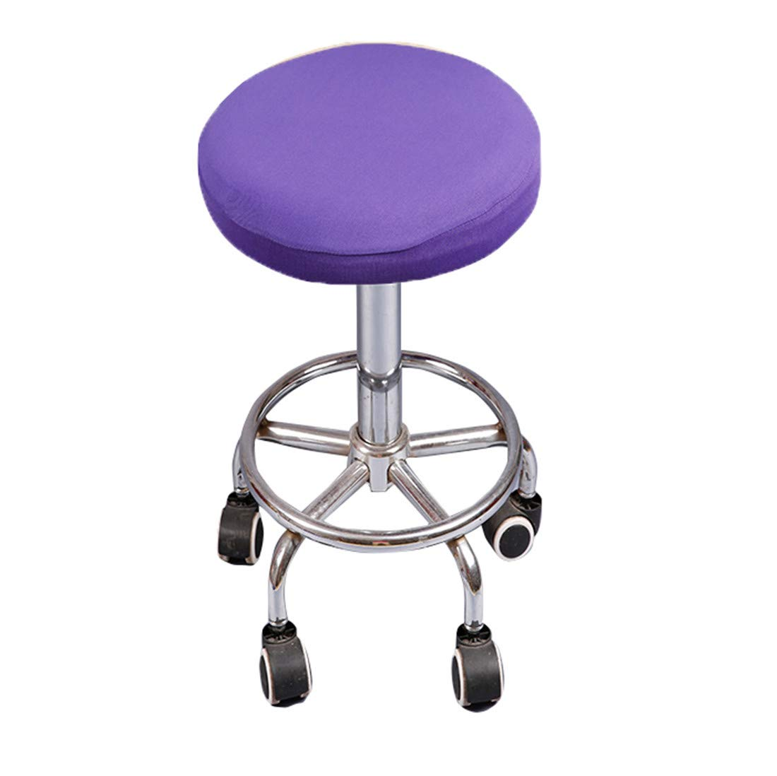 Deisy Dee Soft Stretchable Round Bar Stool Chair Covers Protectors Pack of 2 C097 (purple)