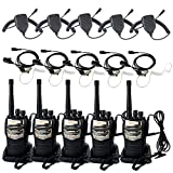 Retevis RT-6S 2 Way Radio 6W UHF 400-520MHz 16CH CTCSS/DCS Walkie Talkie Ham Amateur Radio (5 Pack) and Speaker Mic (5 Pack) and 2 Pin PTT Mic Tube Acoustic Headset (5 Pack)