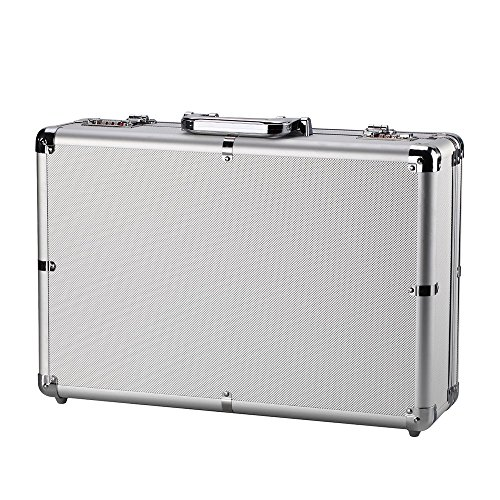 Aluminum Hard Case - Silver Mens Briefcase Aluminum Hard Case Tool Box Metal Cash Box with Multiple Rivet Reinforcement