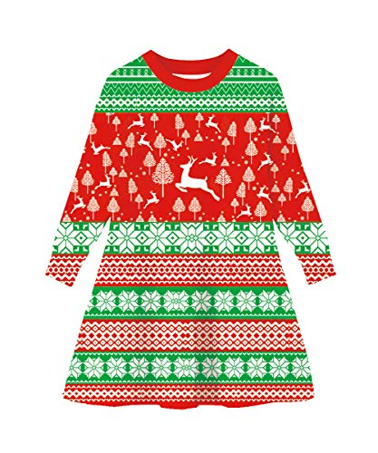 Funnycokid Little Girls Ugly Christmas Deer Shirt Dress Holiday Xmas Santa Sweater -