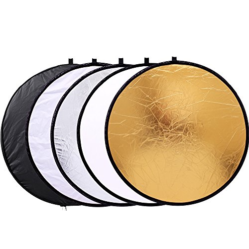 "Photography Reflector 12"" / 30cm 5-in-1 Collapsible Multi-Disc Light Reflectors with Bag - Translucent, Gold, Silver, Black and White"