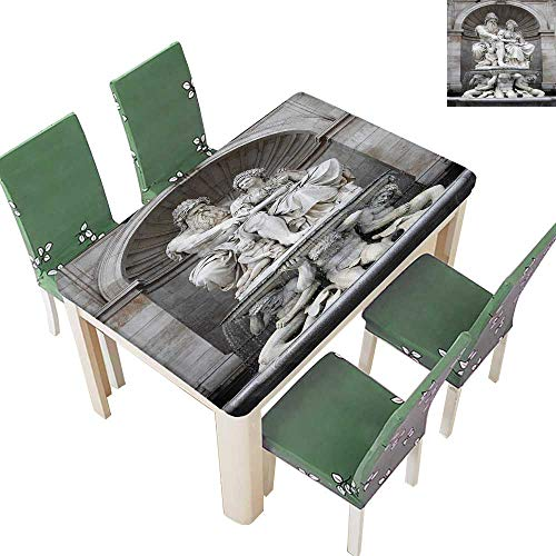 Fitted Polyester Tablecloth Franz Josef Statue Tourist Attracti Historic Landmark Century Old Artwork in Vienna Washable for Tablecloth 54 x 72 Inch