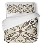 Emvency 3 Piece Duvet Cover Set Breathable Brushed Microfiber Fabric Marble Antique for Floor Wall Ceramic Vintage Ancient Shiny Traditional Abstract Bedding Set with 2 Pillow Covers Twin Size