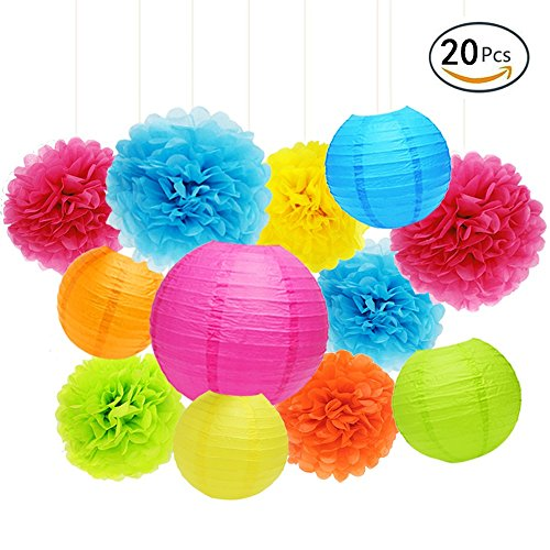 APLANET Set of 20 Assorted Rainbow Color Paper Pom Poms and Paper Lanterns, 5 Colors, for Party, Baby Shower and Wedding Decorations Paper Lantern Party Decoration