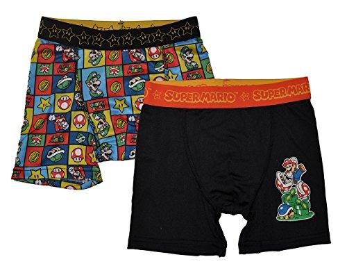 Nintendo Little Boys' 2-Pack Athletic Boxer Brief Underwear, Mario, - Briefs 2pk Boxer Underwear Boys