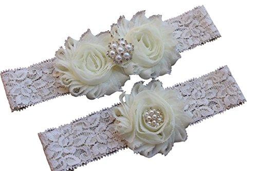 Ivory Bridal Garters - Daddasprincess Wedding Garter Ivory Bridal Lace Plus Size Garter Something Blue (M: 18-22 inches, Ivory)