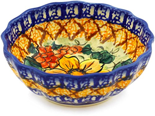 Polish Pottery 5-inch Fluted Bowl (Colorful Bouquet Theme) Signature UNIKAT + Certificate of Authenticity