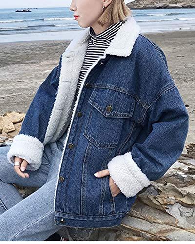 Outerwear Casual Donna Addensare Giacca Manica Jeans Blu Lunga Marino Di Owq0R