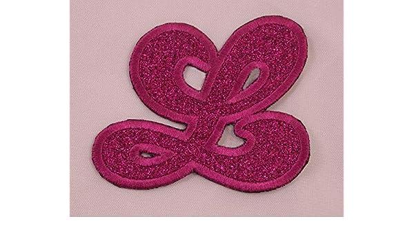 Amazon com: Embroidered Glitter Pink Retro Bubble Monogram Letter L