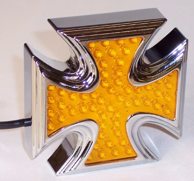 PREMIUM IRON CROSS LED TAIL LIGHT, Amber, Stop & Turn, Each (Light Tail Iron Cross)