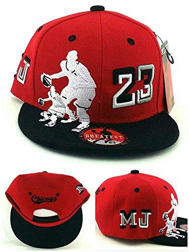 GREATEST PRODUCTS Chicago New Greatest 23 Legend Jordan Bulls Red Black MJ Dribbler Era Snapback Hat Cap