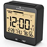 MARATHON CL030054BK Atomic Auto-Night Light Desk Clock, With Heat & Comfort Index - Batteries Included