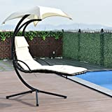 Giantex Hanging Chaise Lounger Chair Arc Stand Air Porch Swing Hammock Chair with Canopy Umbrella (Beige)